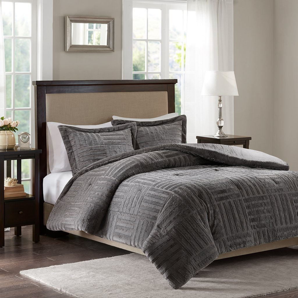 Arctic Fur Down Alternative Comforter Mini Set Grey Twin, Add warmth and comfort to your bed with the Arctic faux fur down alternative comforter. The faux fur is.., By Premier Comfort
