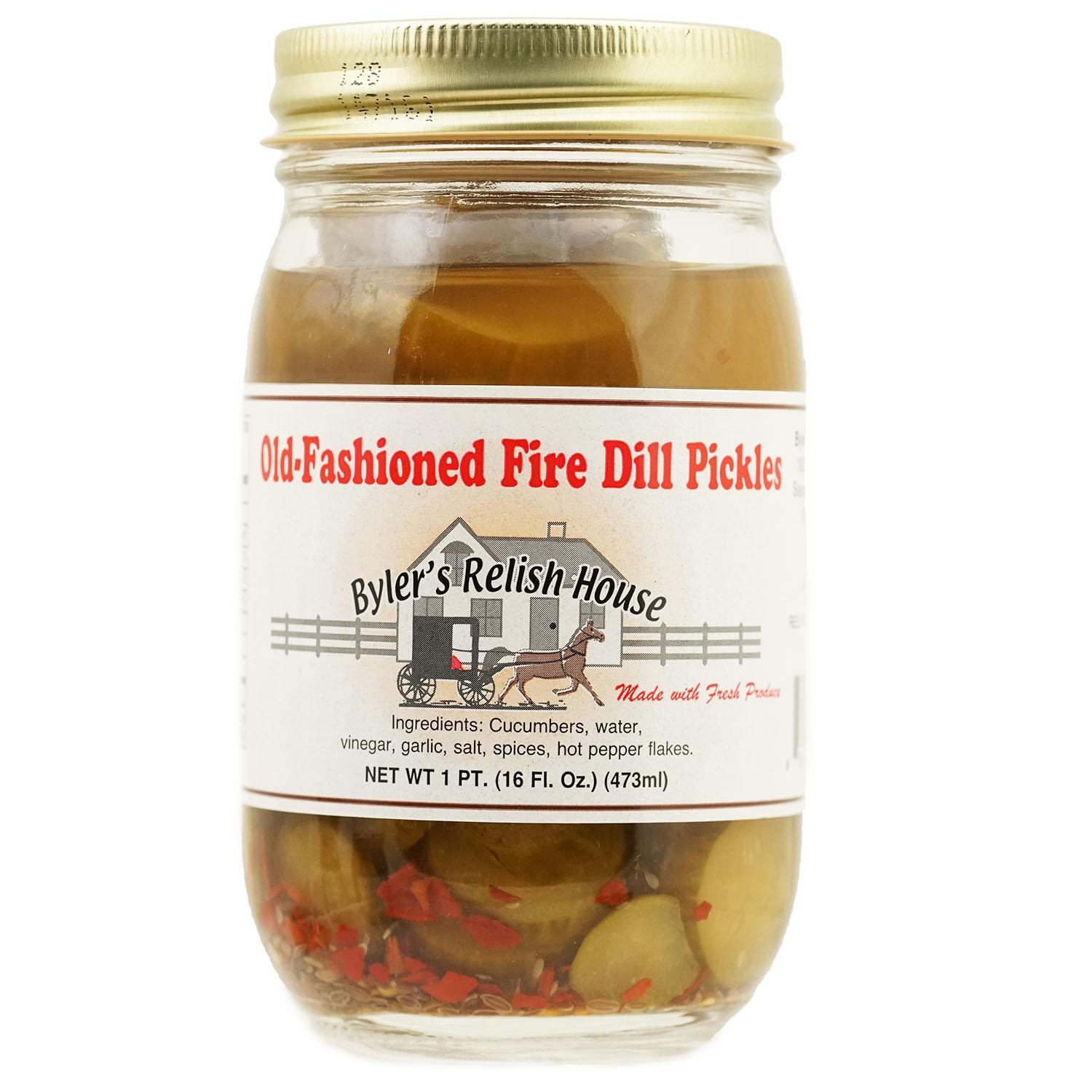 Byler's Relish House Homemade Old-Fashioned Fire Dill Pickles 16 oz. by Byler's Relish House