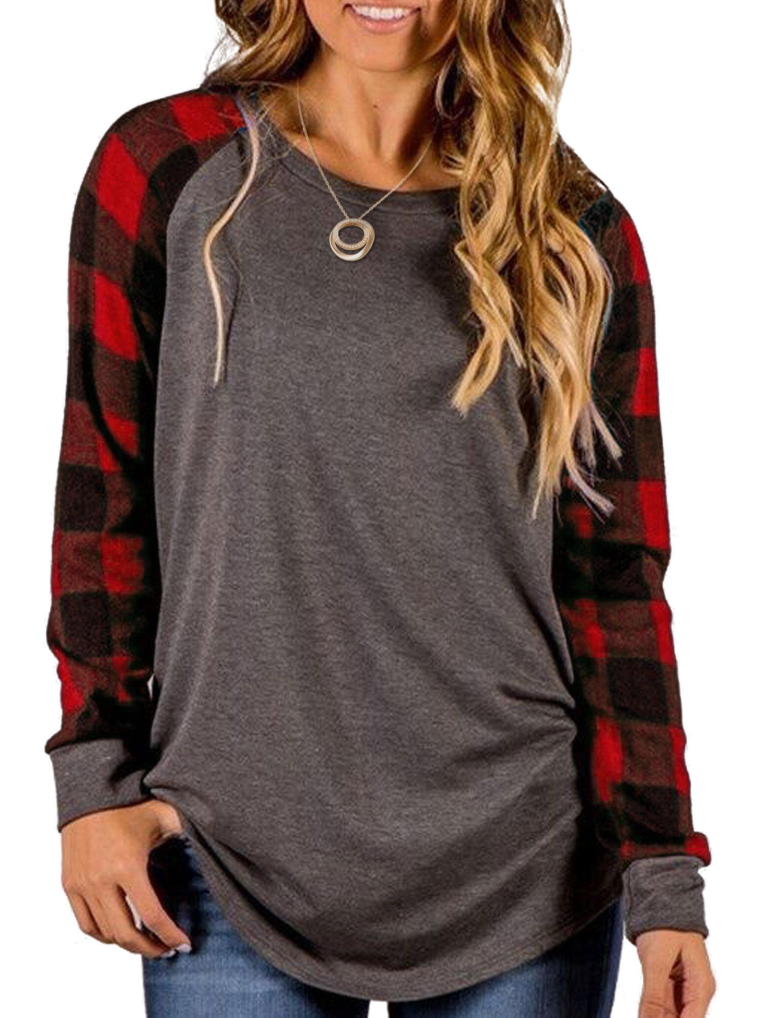 Plus Size Women Camo Long Sleeve Raglan T Shirt Ladies Casual Patchwork Blouse