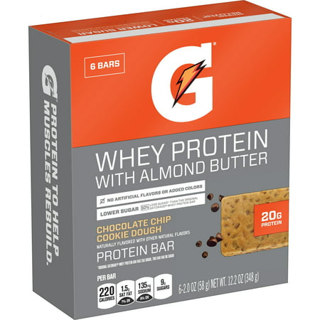 Gatorade Whey Protein Bar with Almond Butter, Chocolate Chip Cookie Dough, 20g Protein, 6 - Complete Whey Cookies