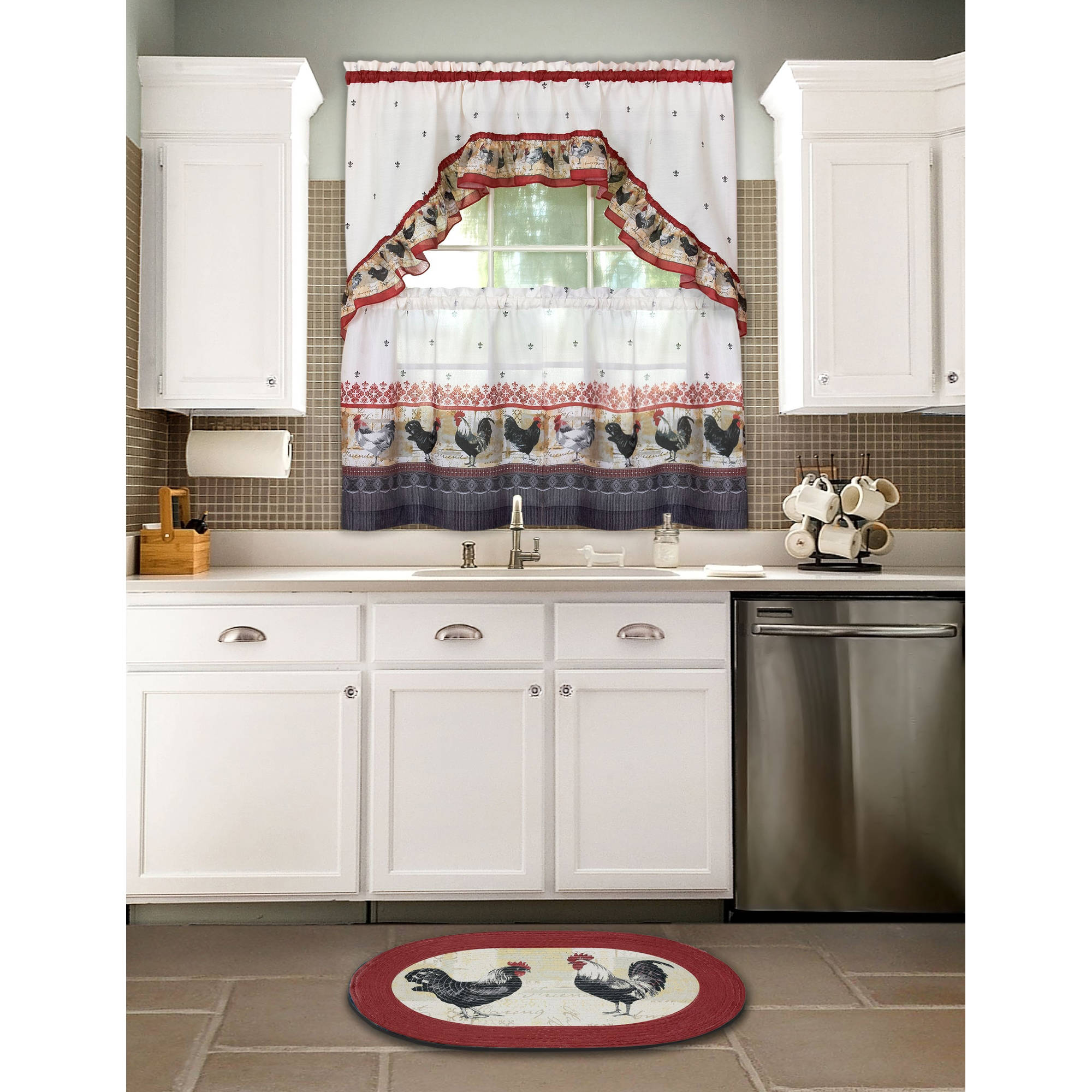 Kitchen Curtain and Swag Set Rooster