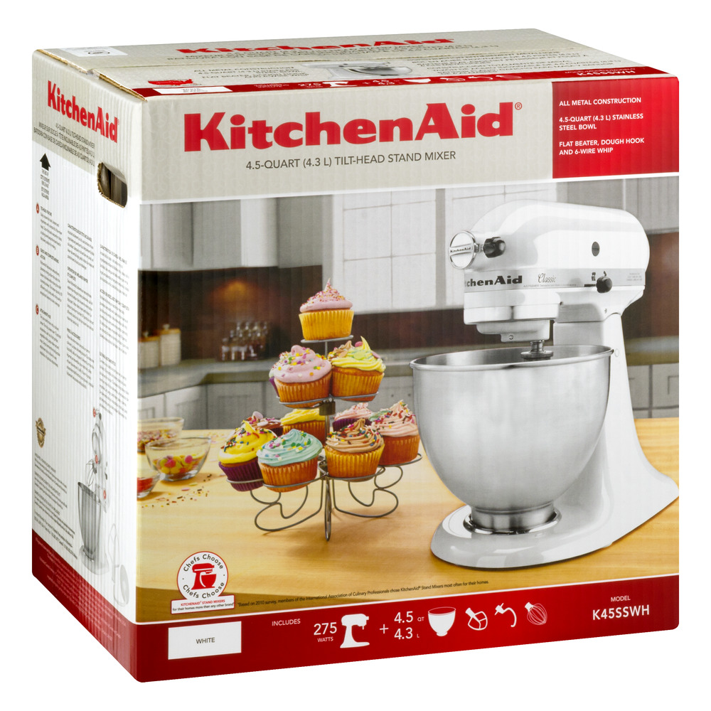 KitchenAid Classic Series 4.5 Quart Tilt Head Stand Mixer, White (K45SSWH)    Walmart.com