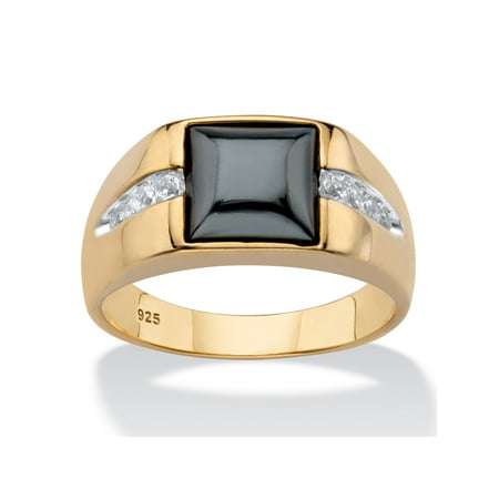 Men's Bezel-Set Genuine Charcoal Hematite and White Sapphire Ring .30 TCW in 18k Yellow Gold over Sterling Silver