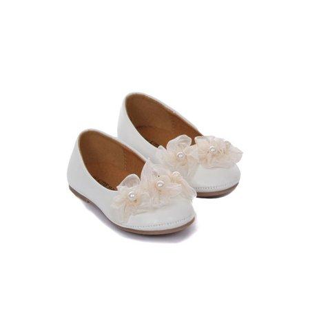 Kids Dream Ivory Organza Flower Ballet Flats Girl Dress Shoes 5 Toddler - Ballet Flats Toddlers