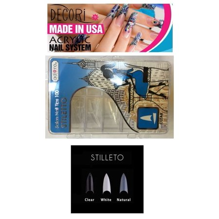 FALSE NAIL TIPS 100 STILETTO SALON NATURAL CLEAR WHITE acrylic like mia secret+ Free Temporary Body Tatoo! - Halloween Stiletto Nails