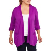 Women's Plus Size Open Knit Flyaway Cardigan