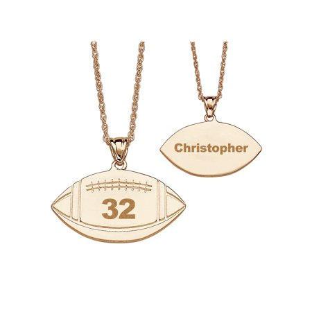 Personalized 14kt Gold-Plated Football Necklace