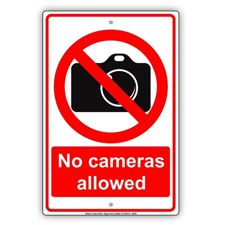 - No Cameras Allowed With Graphic Restriction Caution Alert Warning Notice Aluminum Metal Sign 8