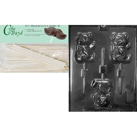 Cybrtrayd 45St50-A123 Sweet Teddy Bear Pop Animal Chocolate Candy Mold with 50 4.5-Inch Lollipop Sticks