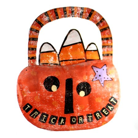 Peri Woltjer TRICK OR TREAT PUMPKIN DOOR HANGER Metal Halloween - Trick Or Treat Halloween Pumpkin