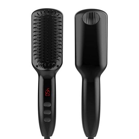 Hair Straightener Brush,Double Negative Ionic Hair Straightening Brush Fast Heated LED Display Anti-scald Anti-static Straightening Brush Straight Hair Comb w/ Auto Shutoff &Temperature Lock