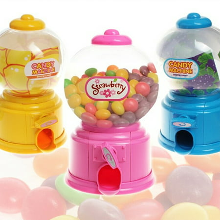 Mini Candy Gumball Dispenser Vending Machine Coin Money Saving Box Piggy Bank Kids Toy Style:Random Color](Toy Gumball Machine)