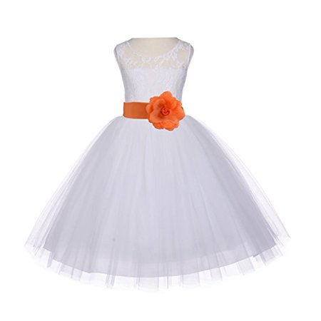 c0f905362270 Ekidsbridal Ivory Floral Lace Bodice Tulle Flower Girl Dresses Wedding  Pageant Formal Special Occasion Dresses First Communion Holy Baptism Junior  Toddler ...