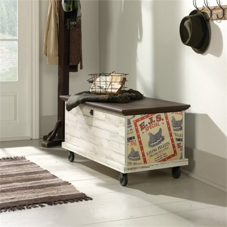 Pemberly Row Rolling Trunk Coffee Table in White Plank - image 2 of 9