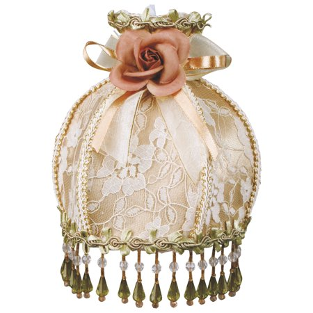 Royal Designs Victorian Beaded Night Light Gold Silk with White Lace - Silk Overlay