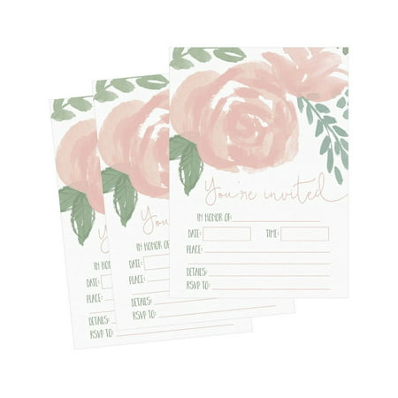 50 Fill In Invitations, Floral Wedding Invites, Watercolor Shower Invites, Re... - Wedding Shower Invites