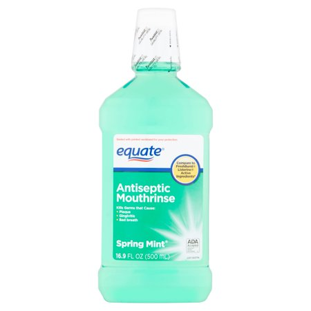 (4 Pack) Equate Spring Mint Antiseptic Mouthrinse, 16.9 Fl (Pre Rinse Unit Spring)