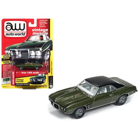 1969 Firebird - 1969 Pontiac Firebird Verdoro Green Poly w/ Flat Black Roof Limited Edition to 3456 pieces 1/64 Diecast Car by Autoworld