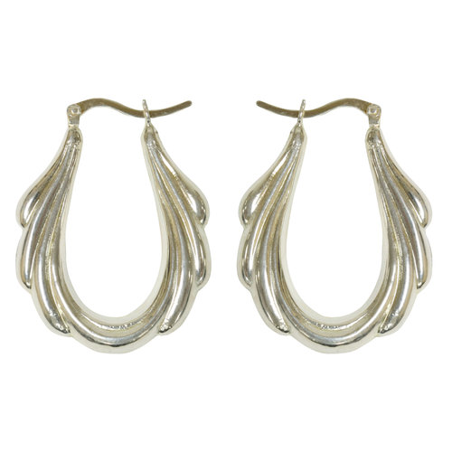 Forever New Silver Tone Elongated Fancy Hoop Earrings