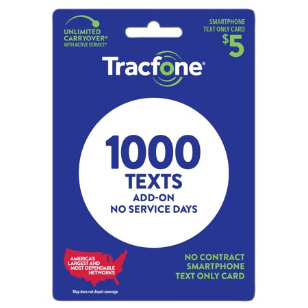 Tracfone $5 Text Only Plan - 1000 Text, No service days (Email