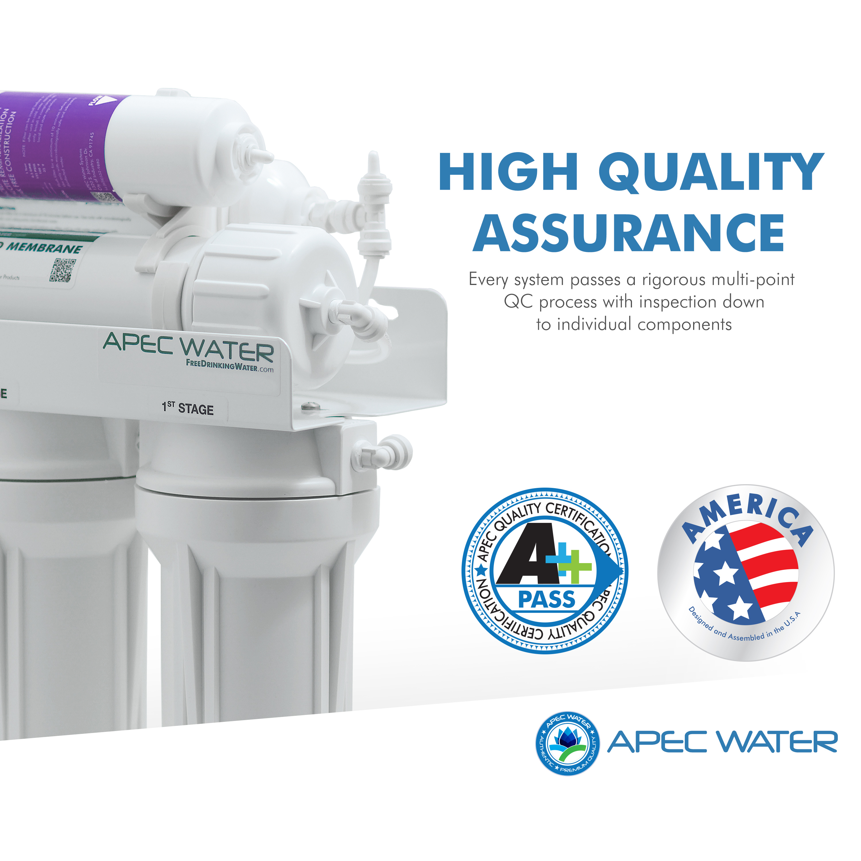 APEC Top Tier Built in USA Ultra Safe Premium 5 Stage Reverse Osmosis Dri