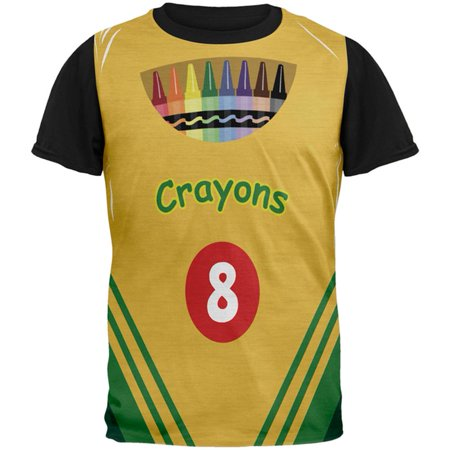 Halloween Crayon Box Costume All Over Mens Black Back T Shirt - Box Of Crayons Homemade Halloween Costume