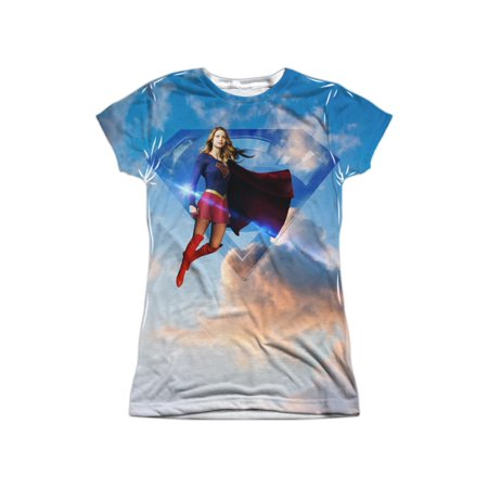 Supergirl DC Comics Character TV Show In The Sky Juniors Front Print T-Shirt (Supergirl T Shirt For Women)