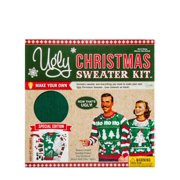Mens Green Ugly Christmas Sweater Kit Decorate Your Way Snowman Santa Reindeer