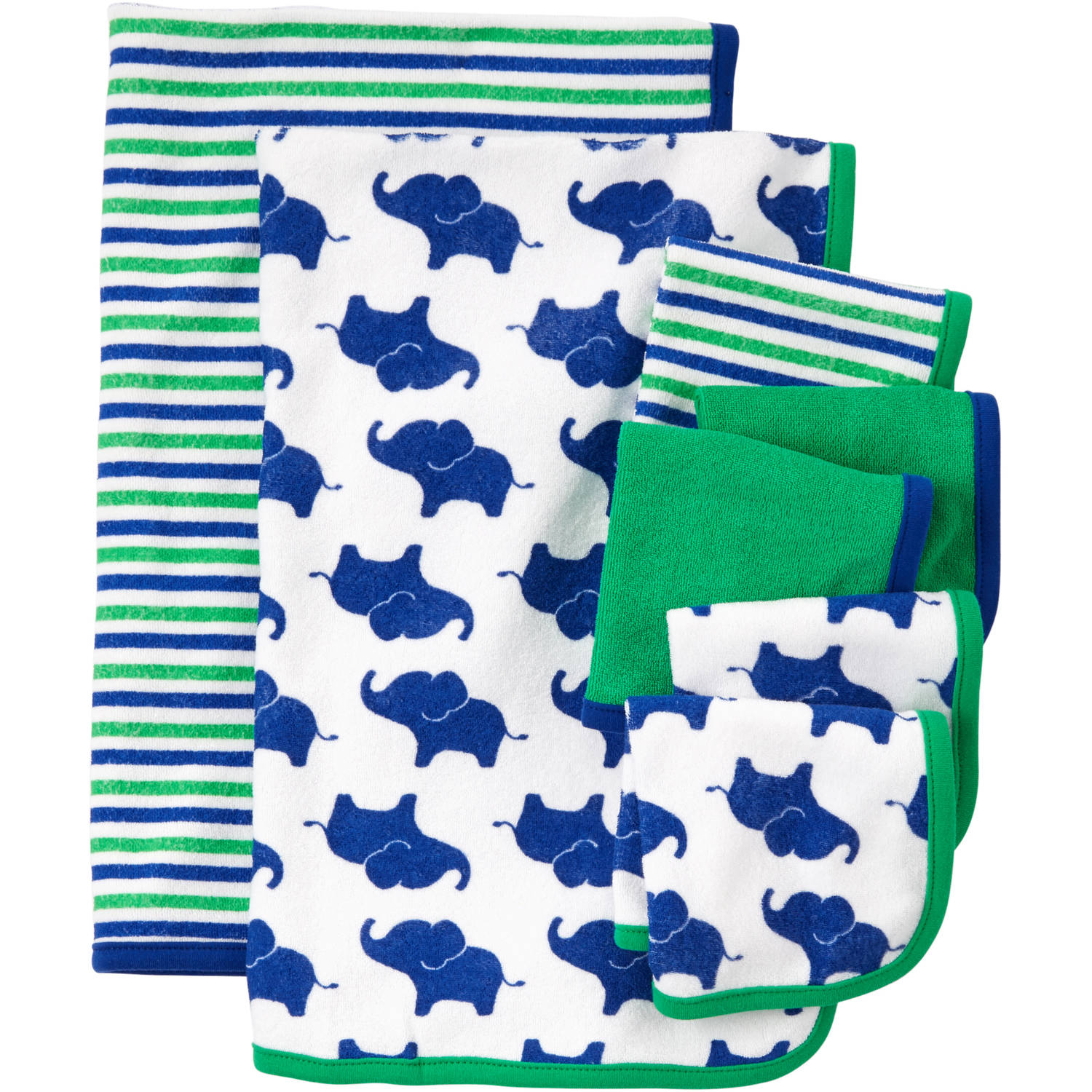 Child Of Mine Made By Carter's Newborn Baby Boy Washcloth And Towel Set, 7 Pack