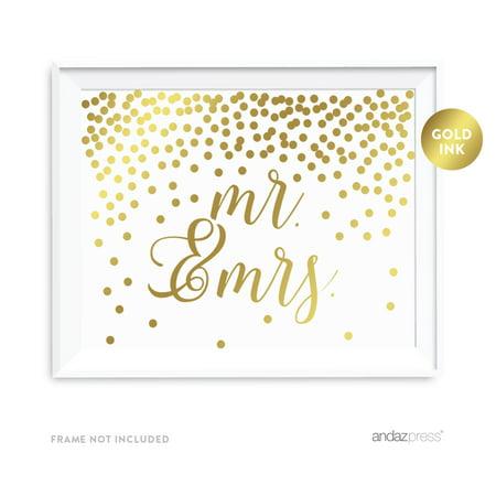 Metallic Gold Confetti Polka Dots 8.5x11-inch Party Sign, Mr. & Mrs., - Gold Metallic Confetti