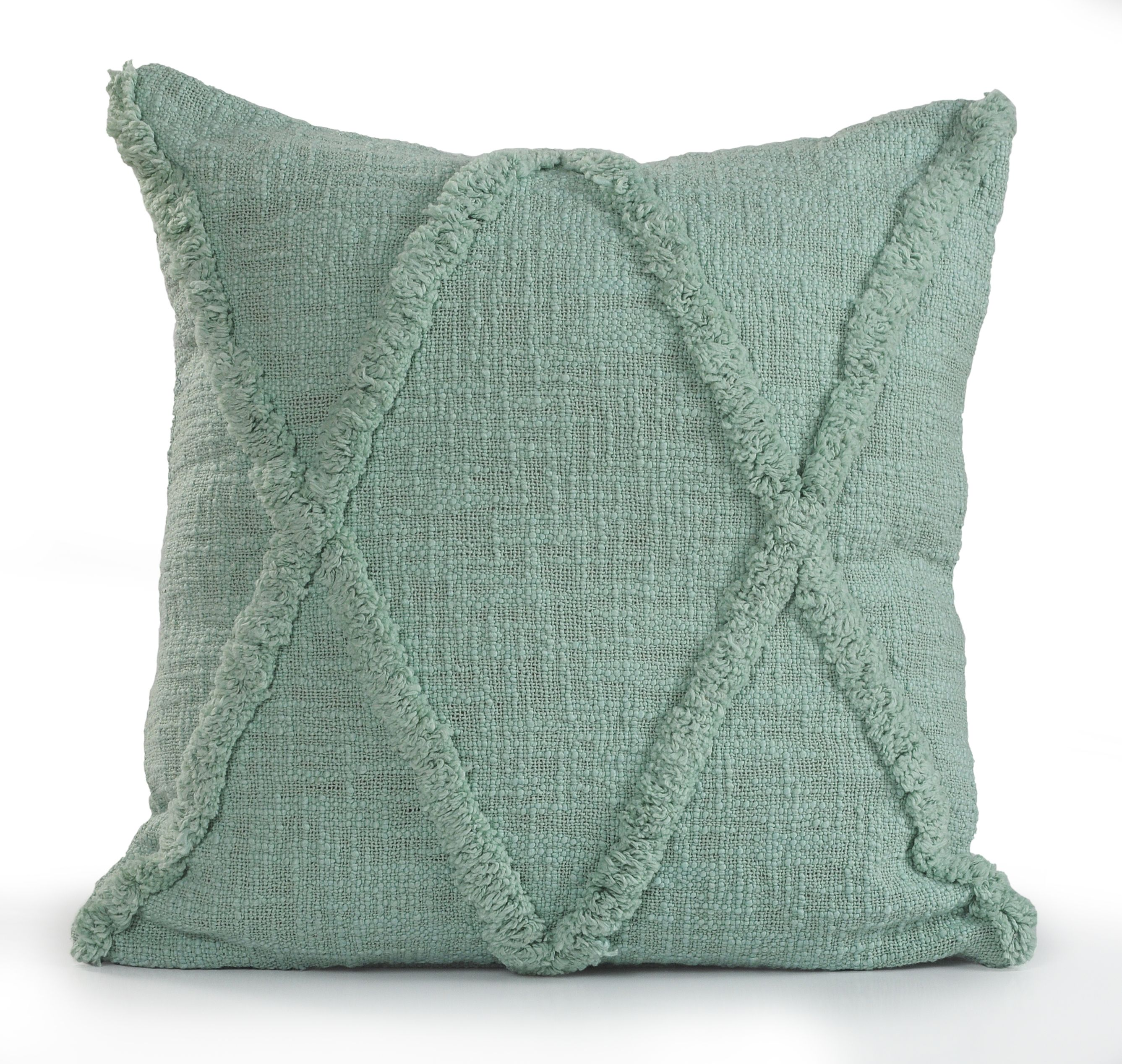 LR Home Criss Cross Fringed Solid Color 18 Inch Cotton Decorative Throw Pillow
