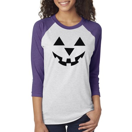 Jack O' Lantern Pumpkin Halloween Costume Womens 3/4 Raglan Sleeve T-Shirt Top