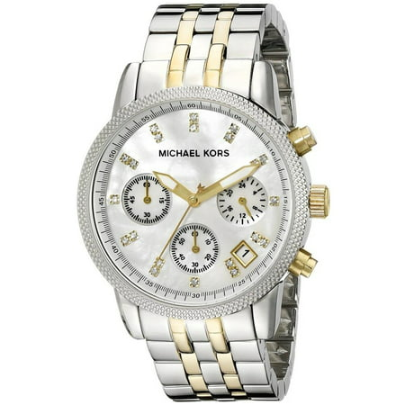 Women's 36mm Steel Bracelet & Case Quartz MOP Dial Chronograph Watch MK5057