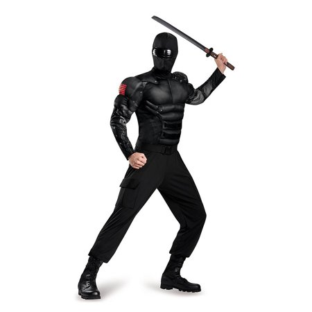 Adult Gi Joe Costume (G.I Joe Snake Eyes Classic Muscle Adult Costume X-Large)