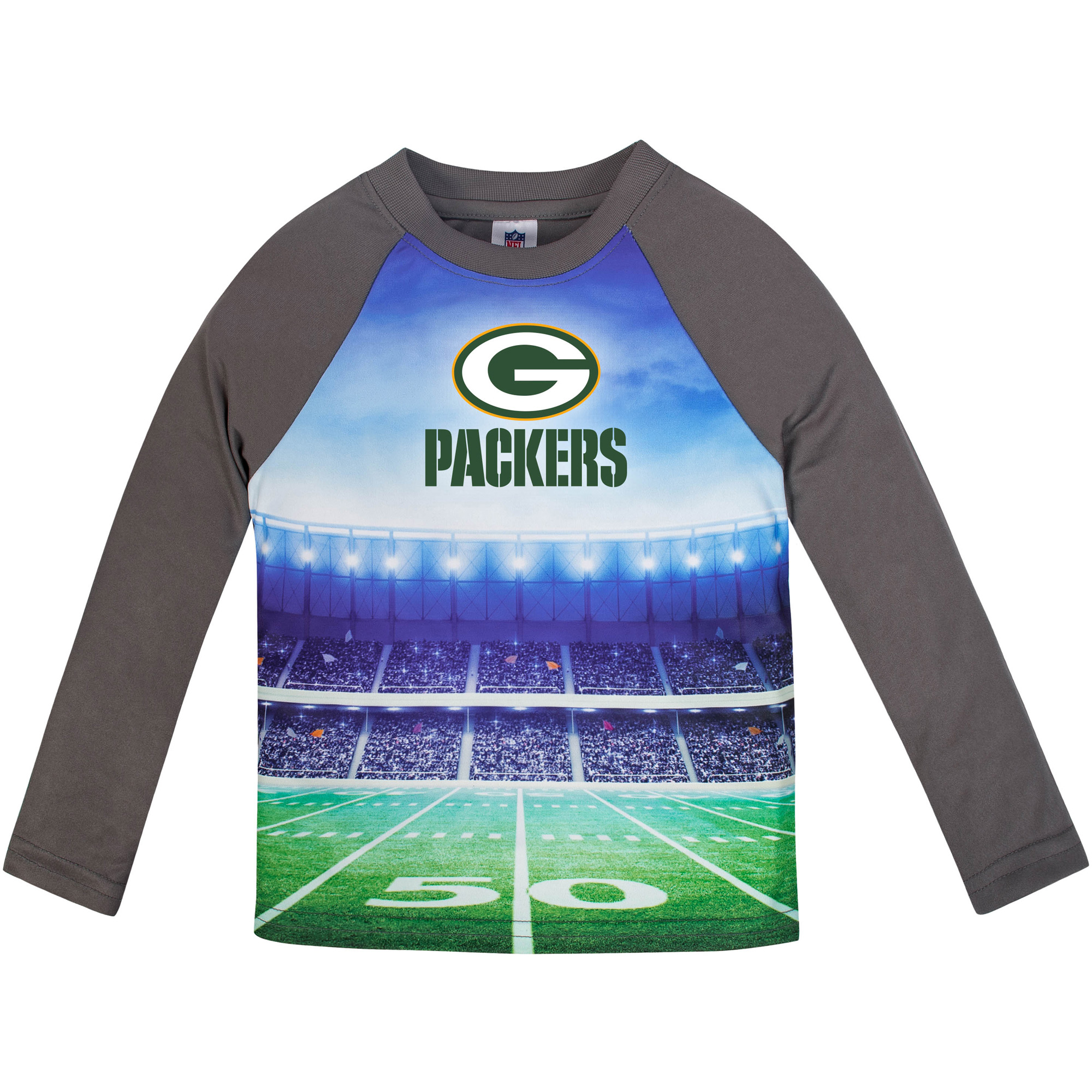 Toddler Gerber Gray Green Bay Packers Long Sleeve Stadium T-Shirt