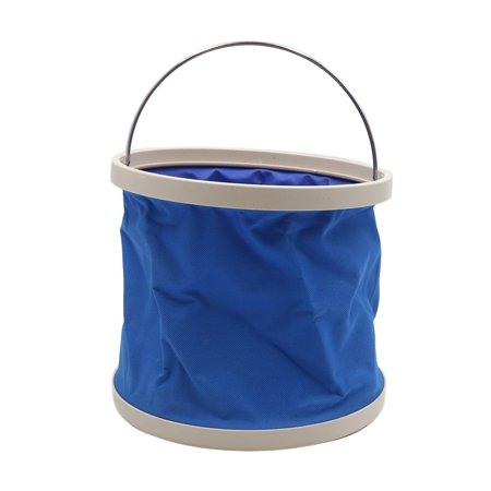 Blue Vinyl Front Bucket (Blue Portable Folding Water Bucket Outdoor Camping Car Washing Foldaway Holder )
