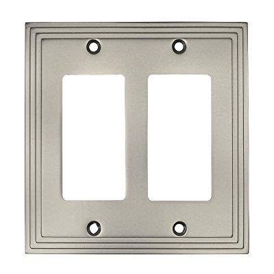 Light Switch Gfi Double Plate (Cosmas 25090-SN Satin Nickel Double GFI / Decora Rocker Wall Switch Plate Switchplate Cover )