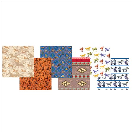 9x9x32 Rivers Edge Home Decor Horse Wrapping Paper Colorful Floor