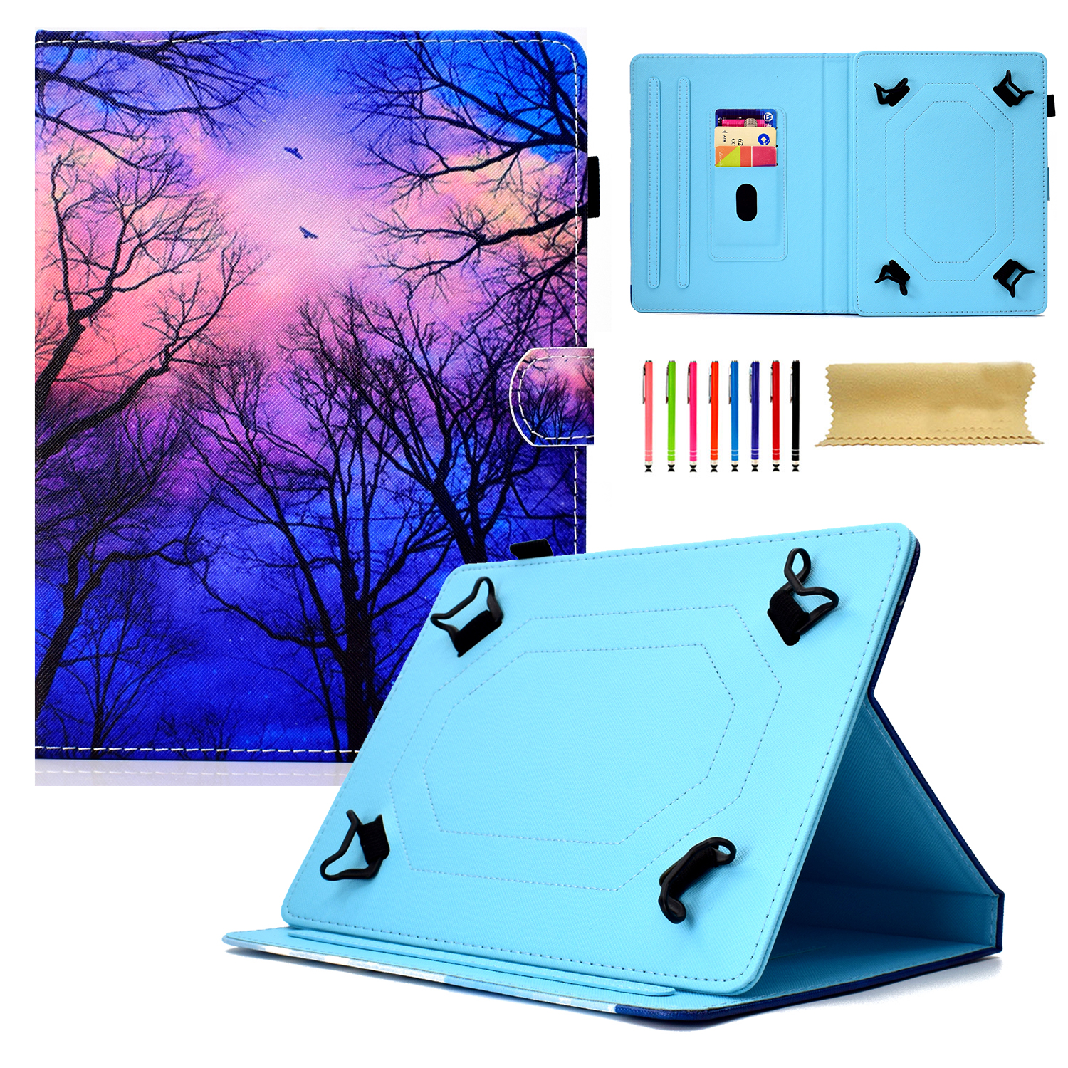 """Goodest Universal 8 Inch Tablet Case, Slim Fit Folio Protective Stand Wallet Cover for 7.5-8.5"""" Tablet 8"""" Touchscreen/iPad Mini/Galaxy Tab A/Fire HD 8/RCA/Chrome Nextbook iView, Forest"""