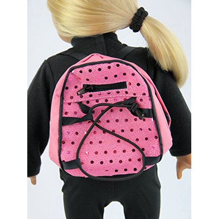 Pink Sequin Backpack - 18 Inch Doll Clothes - Fits 18