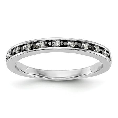 14k White Gold Black and White Diamond Wedding Band Ring 0.168 cttw (Black Gold And White Wedding)