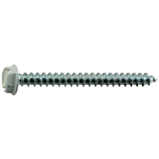 Midwest Fastener MF37974 10 x 2 Slotted Hex Washer Sheet Metal Zinc White Screws - 15 Piece