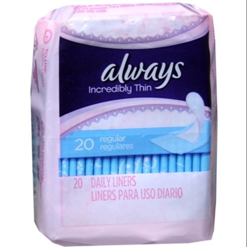 Always Thin Pantiliners Regular Unscented 20 Each (Pack of 3)