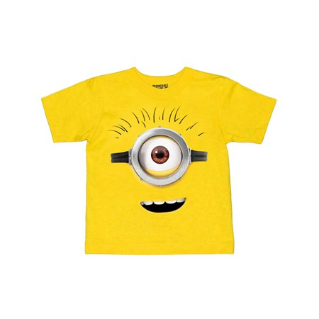 Toddler Boys Minions Face T-Shirt Short Sleeve Yellow - One In A Minion Shirt