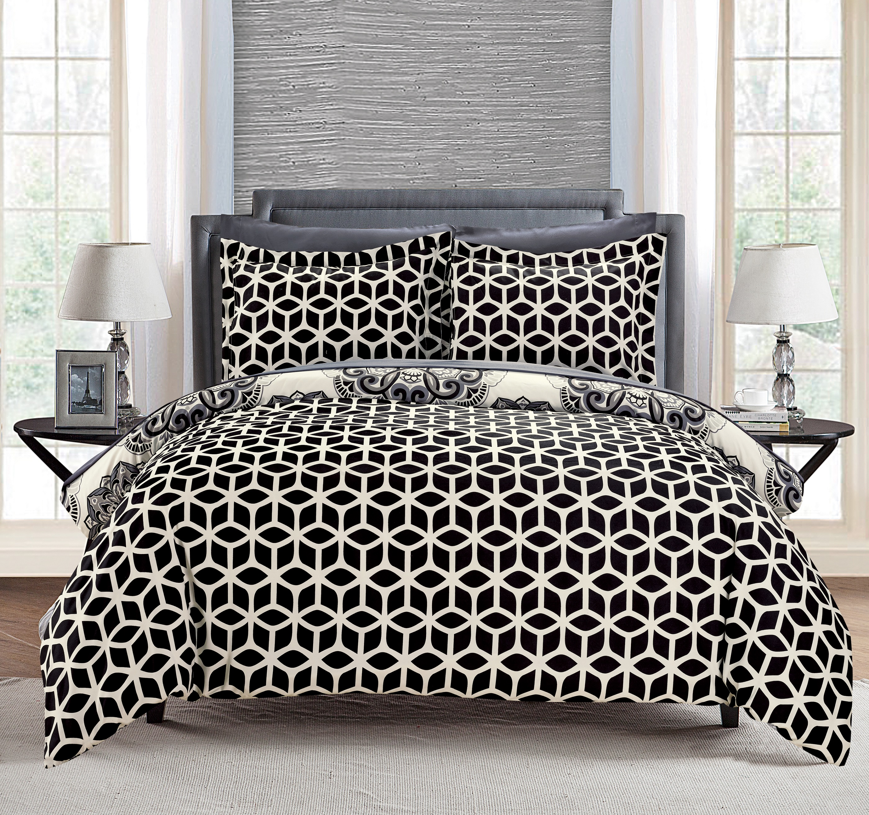 Chic Home 3-Piece Aragona Super soft microfiber Large Printed Medallion REVERSIBLE with Geometric Printed Backing Full/Queen Duvet Cover Set Navy