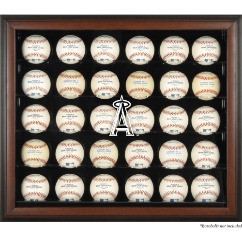 Los Angeles Angels Fanatics Authentic Logo Brown Framed 30-Ball Display Case - No Size