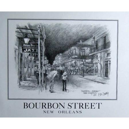 Bourbon Street Don Davey Matted Art Print Famous Street Scene Tap Dancers, Bourbon Street New Orleans- By New Orleans