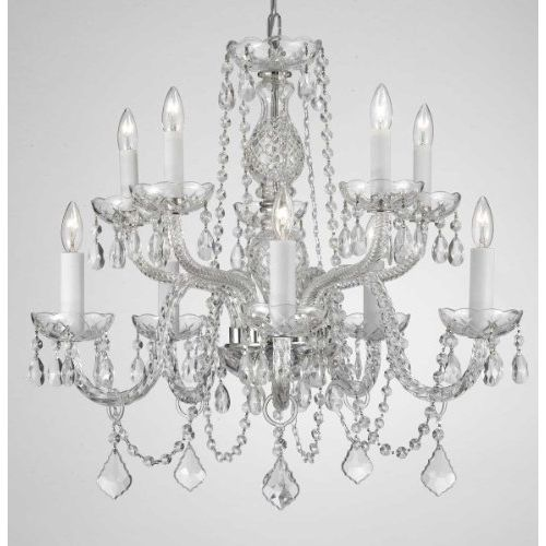 Gallery T40-134 10 Light 2 Tier Crystal Candle Style Chandelier with Clear Cryst