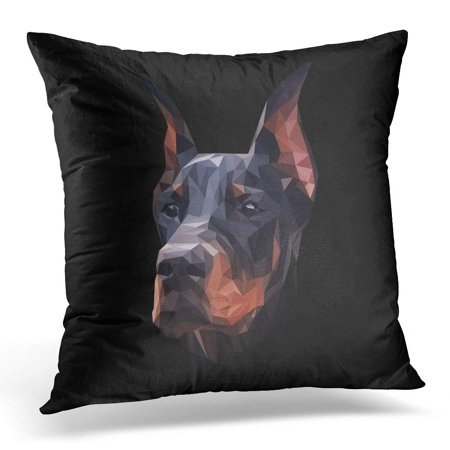ECCOT Black Polygon Doberman Dog Low Poly Design Triangle Face Pillowcase Pillow Cover Cushion Case 20x20 inch