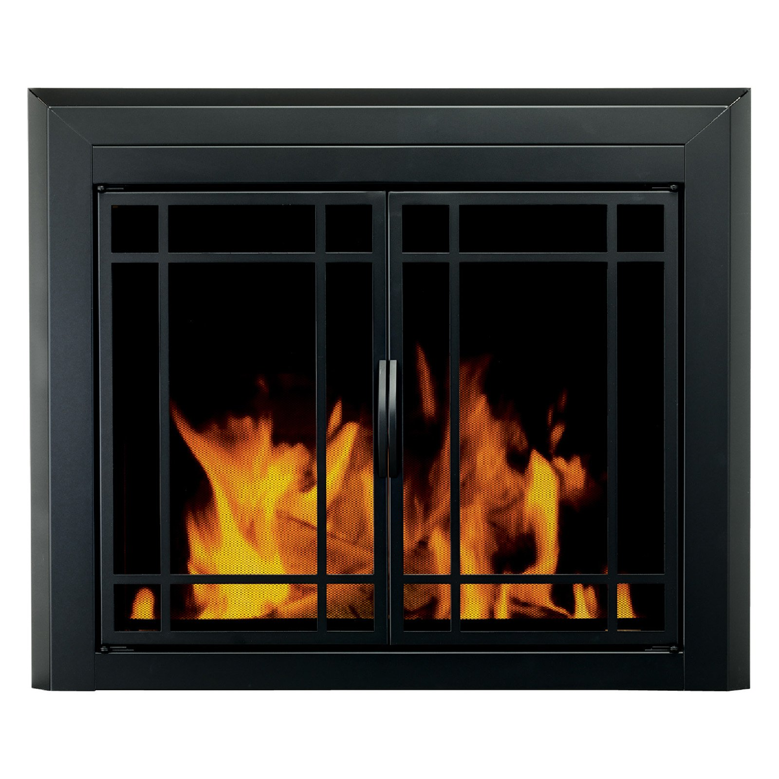 Pleasant Hearth Easton Prairie Cabinet Fireplace Screen and 9-Pane Smoked Glass Doors - Black